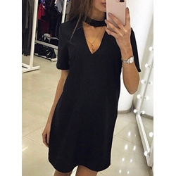 Shoespie Above Knee Pullover Short Sleeve Bodycon Dress