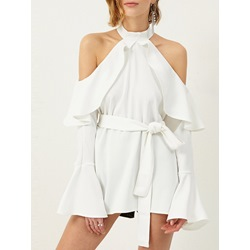 Shoespie Chiffon Off Shoulder Casual Dress