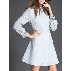 Shoespie Hollow Stand Collar A-Line Long Sleeve Lace Dress