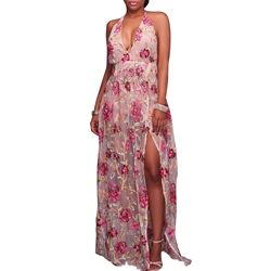 ShoespieEmbroidery Pleated Floral Floor-Length Sleeveless Bodycon Dress