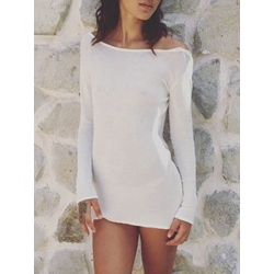 Shoespie Silhouett Straight Backless Long Sleeve Bodycon Dress