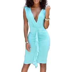 Shoespie V-Neck Falbala Backless Knee-Length Sleeveless Bodycon Dress