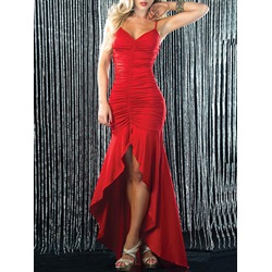 Shoespie V-Neck Floor-Length Pleated Asymmetrical Bodycon Dress