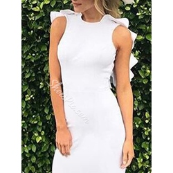 Shoespie Falbala Backless Ruffle Sleeve Sleeveless Bodycon Dress