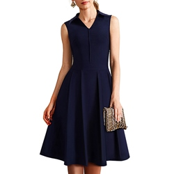 Shoespie A-Line V-Neck Knee-Length Sleeveless Dress