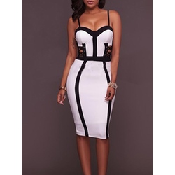 Shoespie Contrast Color Spaghetti Strap Bodycon Dress
