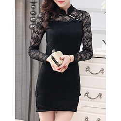 Shoespie Stand Collar Plain Hollow Lace Long Sleeve Bodycon Dress