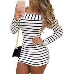 Shoespie Stripe Slash Neck Above Knee Long Sleeve Bodycon Dress