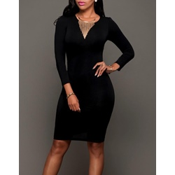 Shoespie Black Color Back Cutout Bodycon Dress