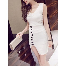 Shoespie V-Neck Backless Lace-Up Print Sleeveless Bodycon Dress