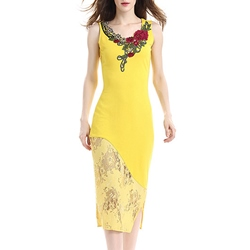 Shoespie Embroidery Floral Lace Pullover Sleeveless Bodycon Dress