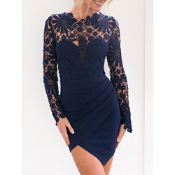 Shoespie Lace Above Knee Asymmetrical High-Waist Long Sleeve Bodycon Dress