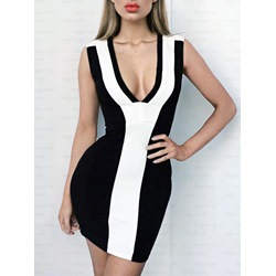 Shoespie High-Waist Color Block V-Neck Sleeveless Bodycon Dress