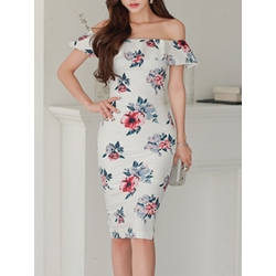 Shoespie Slash Neck Backless Print Floral Sleeveless Bodycon Dress