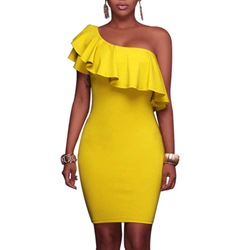 Shoespie Solid Color Falbala Oblique Collar Bodycon Dress