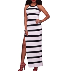 Shoespie Round Neck Stripe Ankle-Length Sleeveless Bodycon Dress