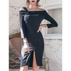 Shoespie Pleated Slash Neck Above Knee Nine Points Sleeve Bodycon Dress