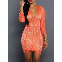 Shoepsie See-Through Lace Three-Quarter Sleeve Dress