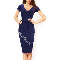 Shoespie Pencil Falbala Pleated V-Neck Short Sleeve Bodycon Dress
