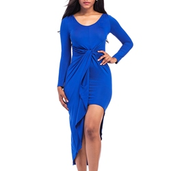 Asymmetrical Round Neck Long Sleeve Bodycon Dress