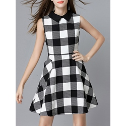 Shoespie Plaid A-Line Above Knee Polo Neck Sleeveless Dress