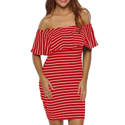 Shoespie Stripes Print Off-the-Shoulder Falbala Bodycon Dress