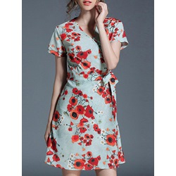 Shoespie Lace-Up Print Floral A-Line V-Neck Short Sleeve Dress