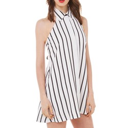 Shoespie Polo Neck Stripe Sleeveless Backless Dress