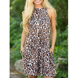 Shoespie Leopard Pullover A-Line Sleeveless Bodycon Dress