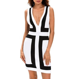 Shoespie Deep V-Neck Stripe Bodycon Dress