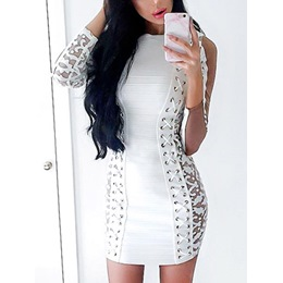 Shoespie See-Through Lace Above Sleeve Bodycon Dress