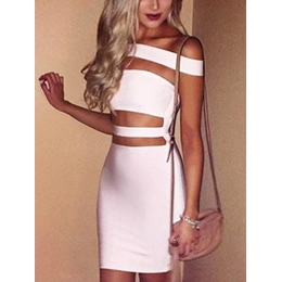 Shoespie Summer Backless Slash Neck Sleeveless Bodycon Dress