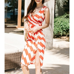 Shoespie Asymmetric Lace-Up Stripe Sleeveless Bodycon Dress