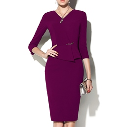 Shoespie V-Neck Three-Quarter Sleeve Knee-Length Bodycon Dress