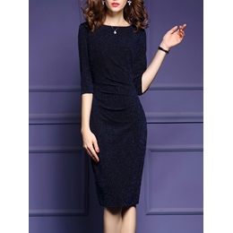 Shoespie Knee-Length Three-Quarter Sleeve Bodycon Dress