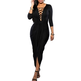 Shoespie Asymmetrical Ankle-Length Three-Quarter Sleeve Bodycon Dress