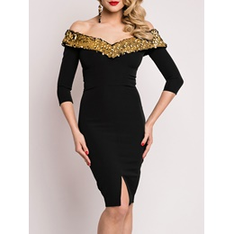Shoespie Half Sleeve V-Neck Sequins Dress