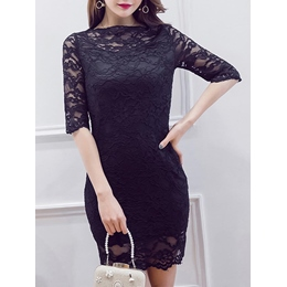 Shoespie See-Through Lace Above Knee Half Sleeve Bodycon Dress