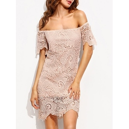 Shoespie Slash Neck Straight Strapless Lace Short Sleeve Bodycon Dress