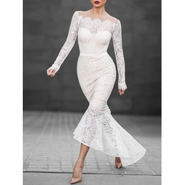 Shoespie Lace Mermaid Backless Mesh Long Sleeve Bodycon Dress