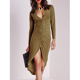 Shoespie Asymmetrical V-Neck Long Sleeve Bodycon Dress