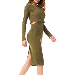 ShoespieRound Neck Hollow Long Sleeve Bodycon Dress