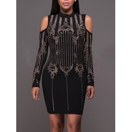 Shoespie Patchwork Zipper Above Knee Long Sleeve Bodycon Dress