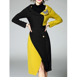 Stripe Color Block Patchwork Button Bodycon Dress