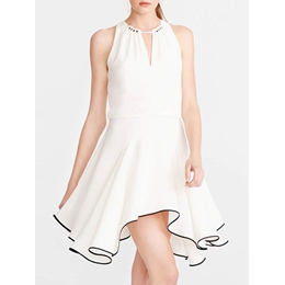 Shoespie Polyester Asymmetrical Sleeveless Round Neck Dress