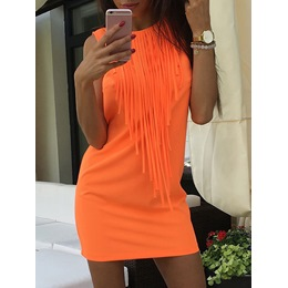 Shoespie Above Knee Fringe Round Neck Sleeveless Bodycon Dress