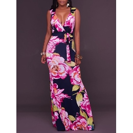 Shoespie V-Neck Floral Print Floor-Length Sleeveless Bodycon Dress