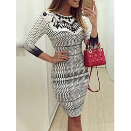 Shoespie Stripe Fringe Patchwork Print Three-Quarter Sleeve Bodycon Dress