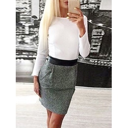 Shoespie Round Neck Patchwork Color Long Sleeve Bodycon Dress