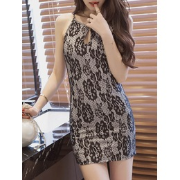 Shoespie Print Sleeveless Strapped Bodycon Dress